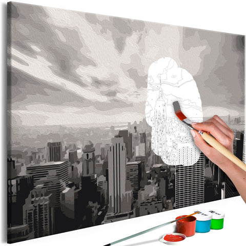 DIY canvas painting - Grey New York