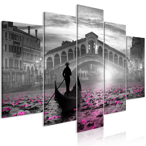 Canvas Print - Magic Venice (5 Parts) Wide Grey