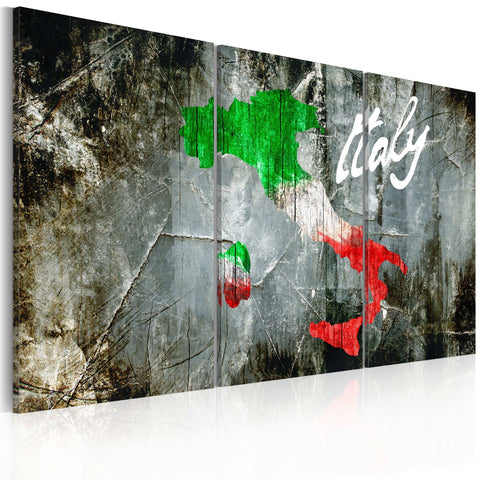 Canvas Print - Artistic map of Italy - triptych