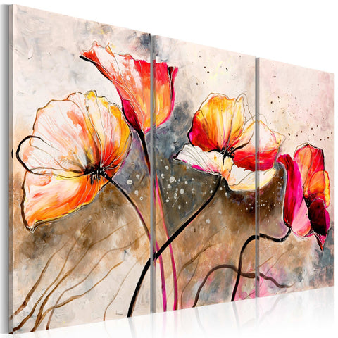 Canvas Print - Poppies lashed by the wind