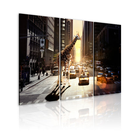 Canvas Print - Giraffe in the big city