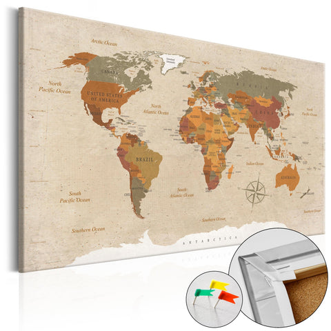 Decorative Pinboard - Beige Chic [Cork Map]