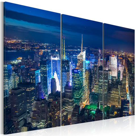 Canvas Print - Bird´s eye view of New York City by night