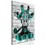 Canvas Print - Giraffe with Pipe (1 Part) Vertical Green