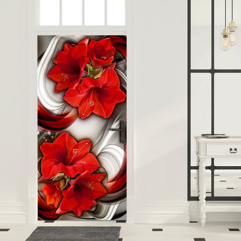 Photo wallpaper on the door - Photo wallpaper - Abstraction and red flowers I