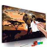 DIY canvas painting - Elephant in Africa (Brown Colours)