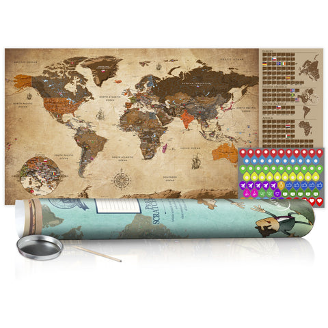 Scratch map - Vintage Map - Poster (English Edition)