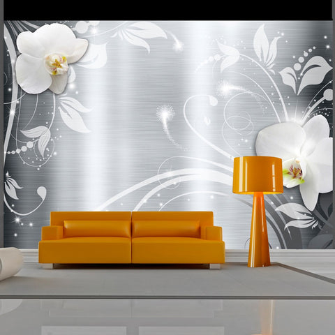 Wallpaper - Orchids on steel