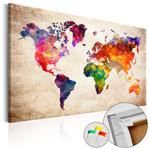 Decorative Pinboard - Colourful Universe  [Cork Map]