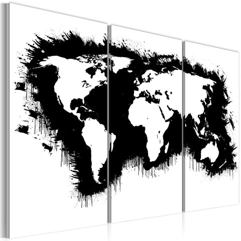 Canvas Print - Monochromatic map of the World - triptych