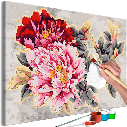DIY canvas painting - Beautiful Peonies