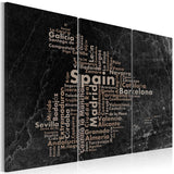 Canvas Print - Text map of Spain on the blackboard - triptych