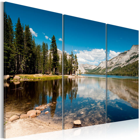 Canvas Print - Mountains, trees and pure lake