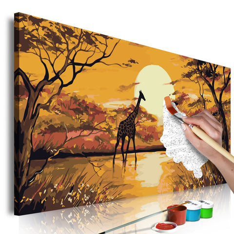 DIY canvas painting - Giraffe at Sunset