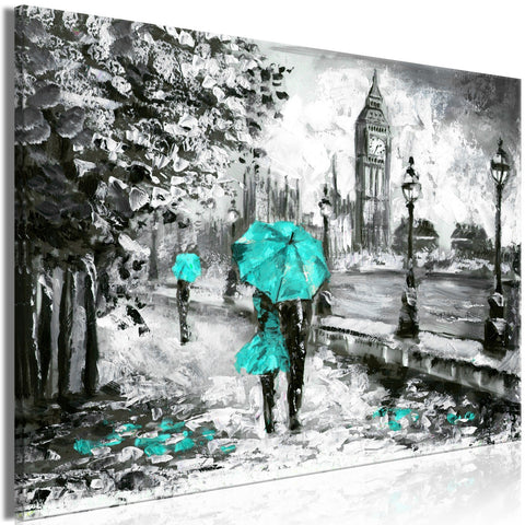 Canvas Print - Walk in London (1 Part) Wide Turquoise