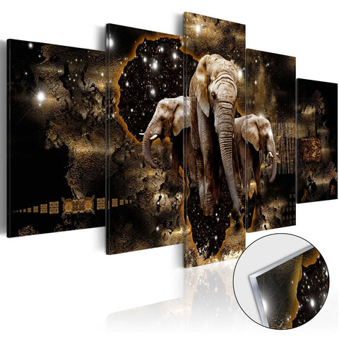 Acrylic Print - Brown Elephants [Glass]