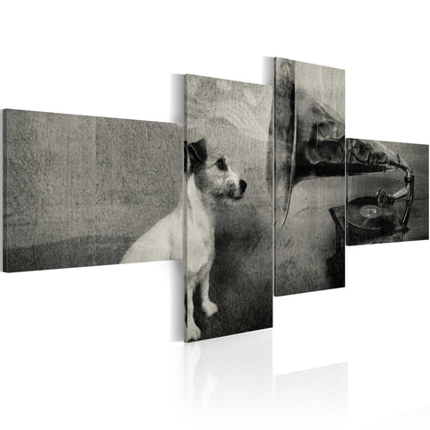 Canvas Print - A gramophone and a dog