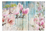 Wallpaper - Pink Flowers on Wood