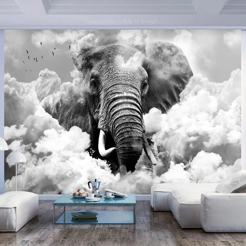 Wallpaper - Elephant in the Clouds (Black and White)