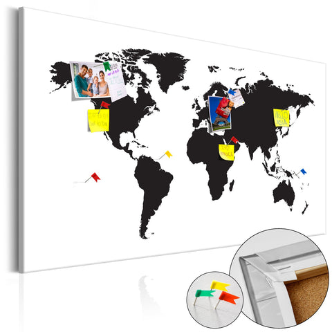 Decorative Pinboard - World Map: Black & White Elegance [Cork Map]