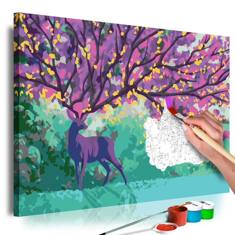 DIY canvas painting - Purple Deer