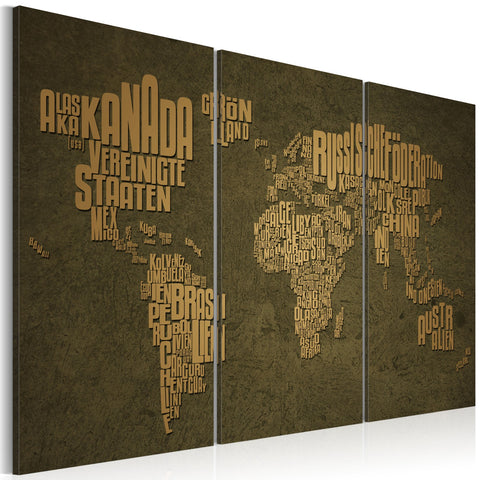 Canvas Print - The map of the World, German language:Beige continents - triptych