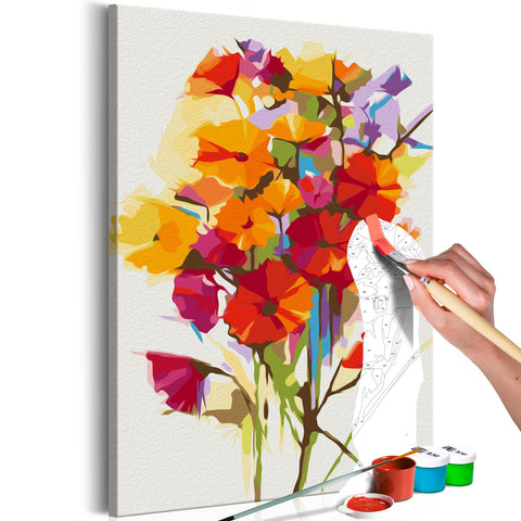DIY canvas painting - Summer Flowers