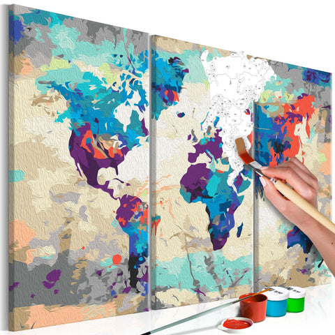 DIY canvas painting - World Map (Blue & Red) 3 Parts