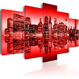 Canvas Print - Red glow over New York - 5 pieces