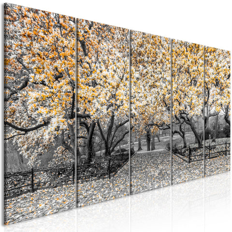 Canvas Print - Magnolia Park (5 Parts) Narrow Orange