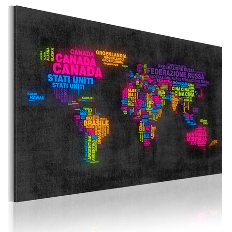 Canvas Print - The map of the World - Italian names of countries