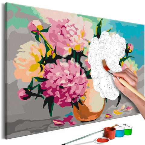 DIY canvas painting - Flowers in Vase