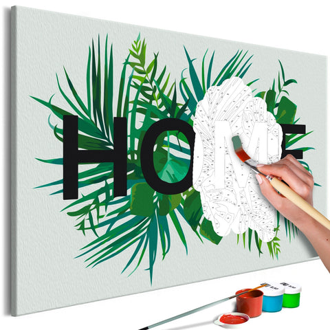 DIY canvas painting - Home on the Leaves