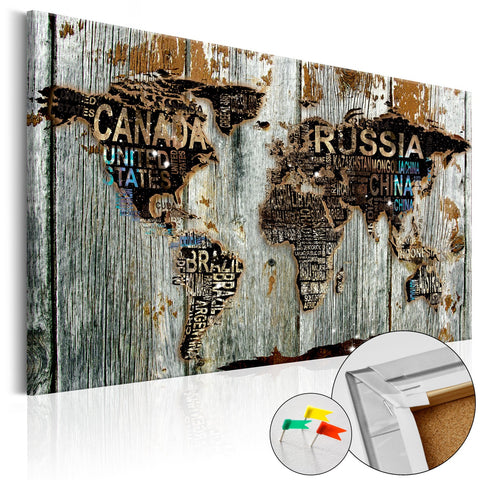 Decorative Pinboard - Wooden Border [Cork Map]