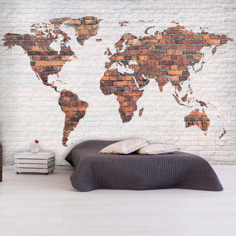 Wallpaper - World Map: Brick Wall
