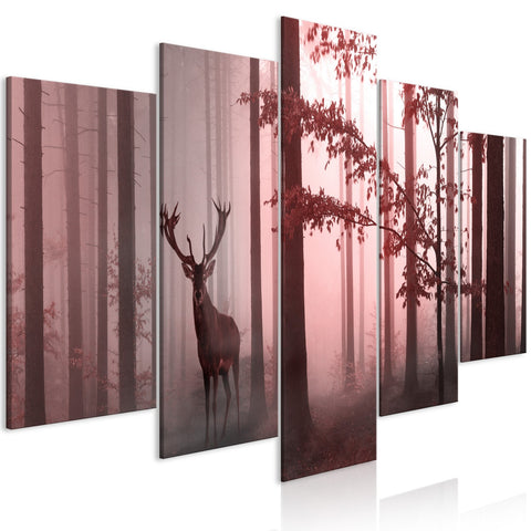 Canvas Print - Morning (5 Parts) Wide Pink