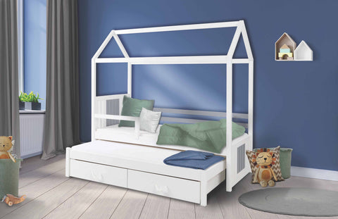 JILL - Single bed with trundle bed for 2 kids. All made of pine wood. NEW COLLECTION