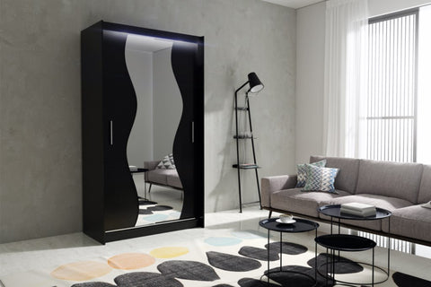 AVA 10.1 - 2 Sliding door wardrobe with LED Lights and the best separator shelf system >120x213cm<