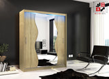 AVA 10.3 - 2 Sliding door wardrobe with LED Lights and the best separator shelf system >180x213cm<