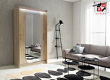 AVA 11.1 - 2 Sliding door wardrobe with LED Lights and the best separator shelf system >120x213cm<