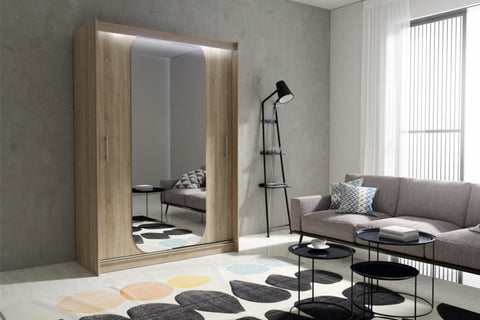 AVA 11.2 - 2 Sliding door wardrobe with LED Lights and the best separator shelf system >150x213cm<