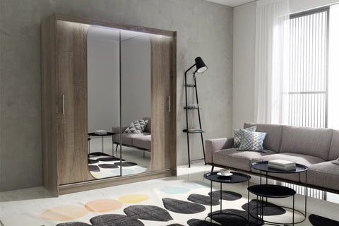 AVA 11.3 - 2 Sliding door wardrobe with LED Lights and the best separator shelf system >180x213cm<
