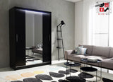 AVA 4.2 - 2 Sliding door wardrobe with LED Lights and the best separator shelf system >150x213cm<