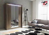 AVA 4.2 - 2 Sliding door wardrobe with LED Lights and the best separator shelf system >150x200cm<