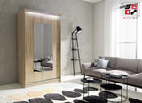 AVA 6.1 - 2 Sliding door wardrobe with LED Lights the best separator shelf system >120x213cm<