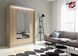 AVA 6.2 - 2 Sliding door wardrobe with LED Lights and the best separator shelf system >150x200cm<