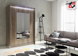 AVA 6.2 - 2 Sliding door wardrobe with LED Lights and the best separator shelf system >150x213cm<