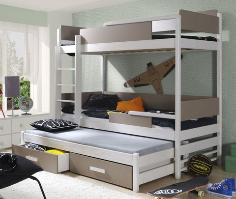 QUATRO III - Solid as bunker triple bunk bed with great functional - Wardrobe-Bunk-Bed-Sofa