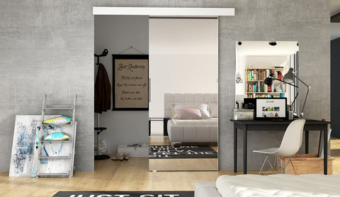 ETNA 2 - Modern Suspended Sliding Door with Mirror, save space in your room or use for a walk in wardrobe