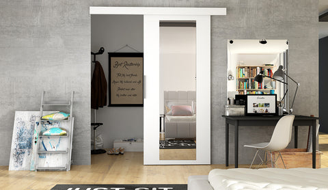 ETNA 4 - Modern Suspended Sliding Door with Mirror, save space in your room or use for a walk in wardrobe
